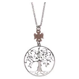 Pingentes, Cruzes, Broches, Correntes: Colar AMEN prata 925 rodiado/rosé árvore da vida
