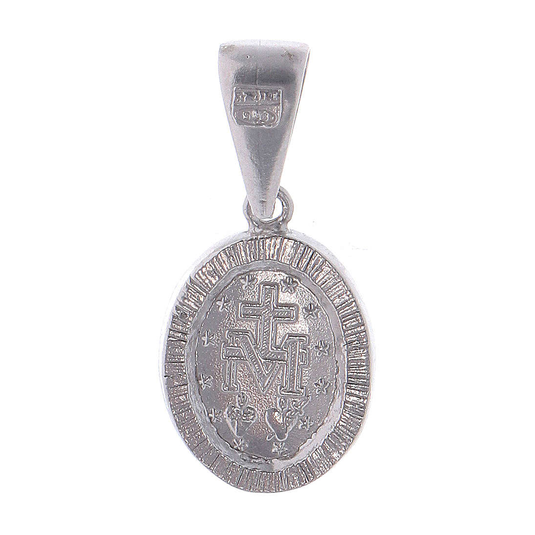 Medal of Our Lady of Miracles in 925 silver with transparent rhinestones 4