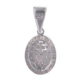 Medaglia Madonna Miracolosa in Argento 925 con zirconi trasparenti s2