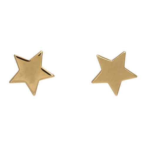 Gold star stud earrings, AMEN in 925 silver 1