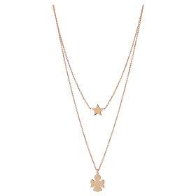 Pingentes, Cruzes, Broches, Correntes: Colar AMEN prata 925 dourada pingente anjo e estrela