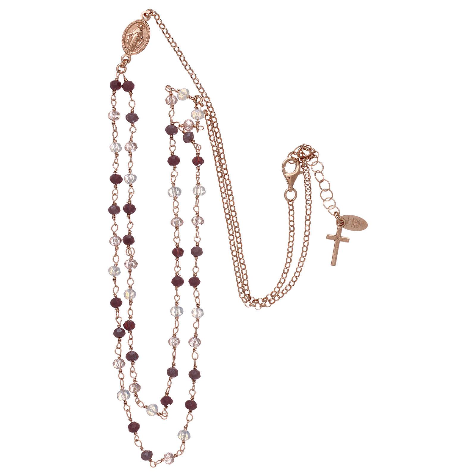 Collana AMEN argento 925 rosè con cristalli viola.  4