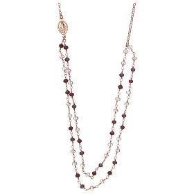 Collana AMEN argento 925 rosè con cristalli viola.  s1