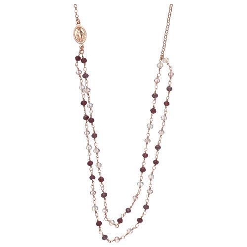 Collana AMEN argento 925 rosè con cristalli viola.  1