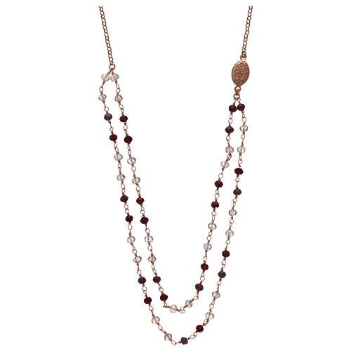 Collana AMEN argento 925 rosè con cristalli viola.  2