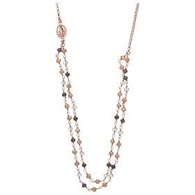 Pingentes, Cruzes, Broches, Correntes: Colar AMEN prata 925 rosé com cristais cinzentos ouro e transparentes