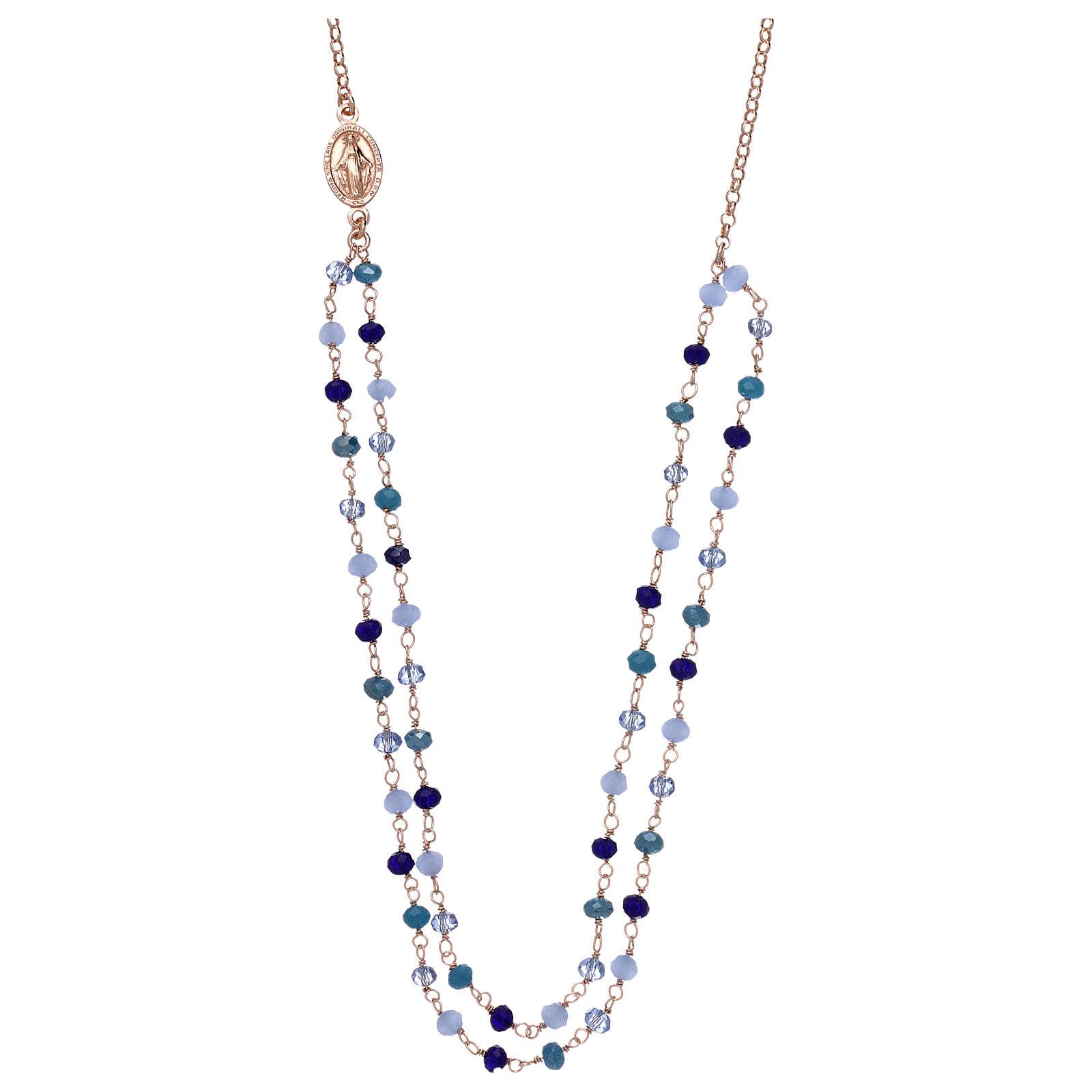 Collana AMEN in argento 925 rosè cristalli blu 4