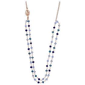 Collana AMEN in argento 925 rosè cristalli blu s1