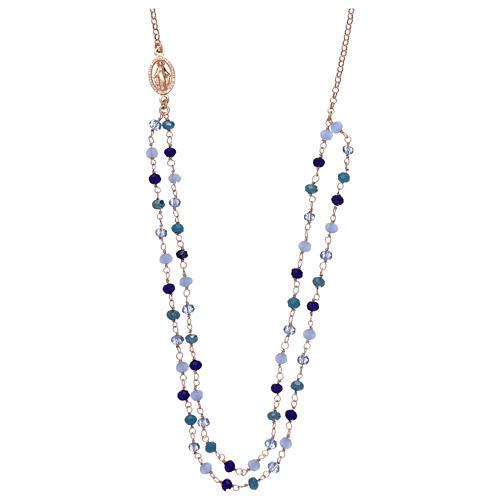 Collana AMEN in argento 925 rosè cristalli blu 1