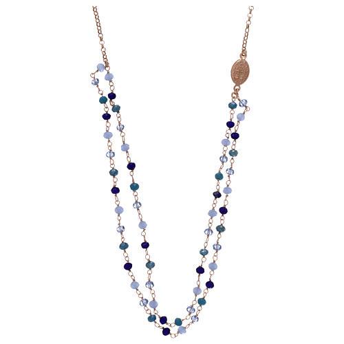 Collana AMEN in argento 925 rosè cristalli blu 2
