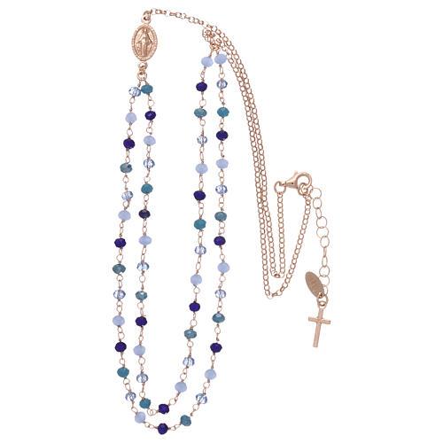 Collana AMEN in argento 925 rosè cristalli blu 3