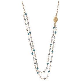 Collana in argento 925 dorato cristalli azzurri s2