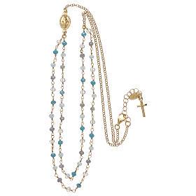Collana in argento 925 dorato cristalli azzurri s3