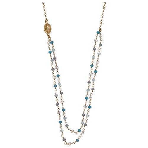 Collana in argento 925 dorato cristalli azzurri 1