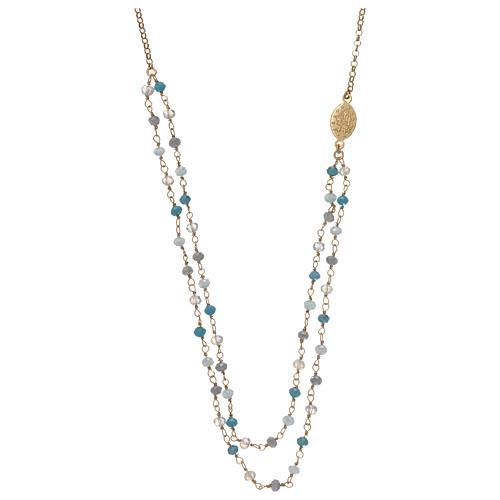 Collana in argento 925 dorato cristalli azzurri 2
