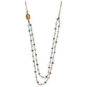 Pingentes, Cruzes, Broches, Correntes: Colar em prata 925 dourada com cristais azuis AMEN