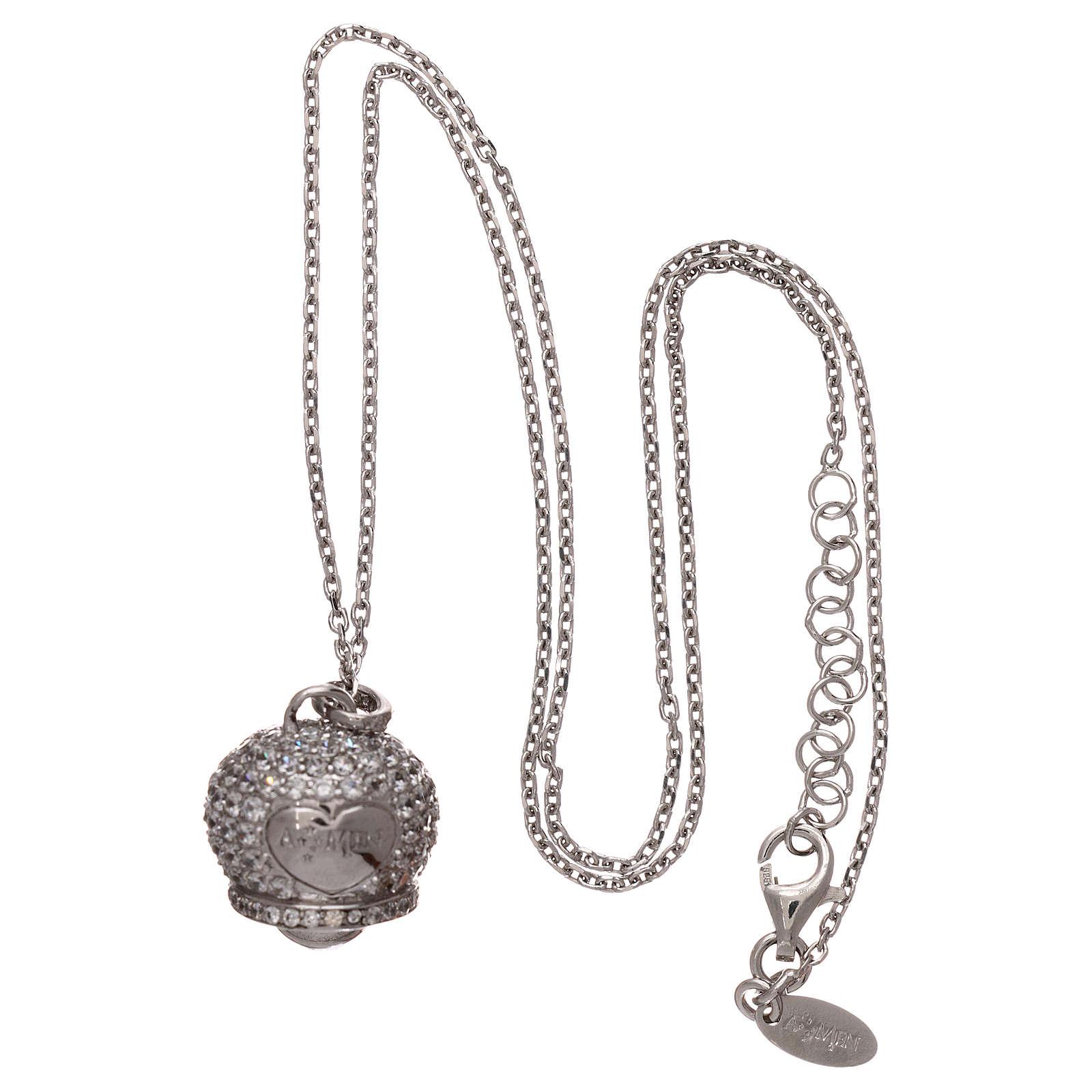 Collana in argento 925 ciondolo campanella con zirconi AMEN 4