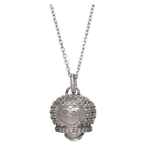 Collana in argento 925 ciondolo campanella con zirconi AMEN 1