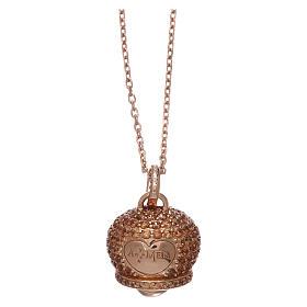 Collier AMEN en argent 925 rosé pendentif clochette avec zircons s1