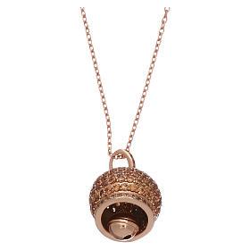 Collier AMEN en argent 925 rosé pendentif clochette avec zircons s2