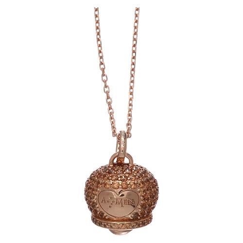 Collier AMEN en argent 925 rosé pendentif clochette avec zircons 1