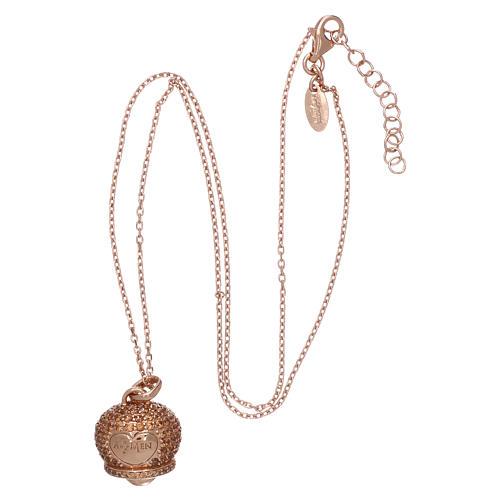 Collier AMEN en argent 925 rosé pendentif clochette avec zircons 3