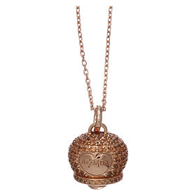 Pingentes, Cruzes, Broches, Correntes: Colar prata 925 rosé pingente sinal com zircões AMEN