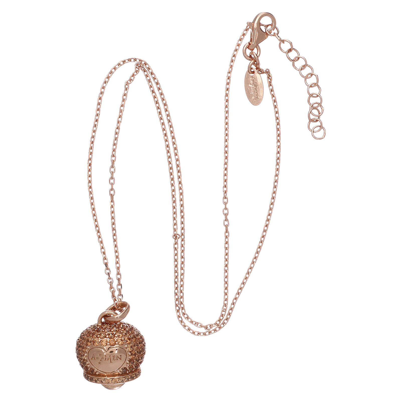 AMEN Necklace in 925 silver rosé finish bell shaped pendant with zircons 4