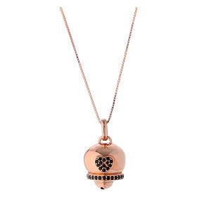 Pingentes, Cruzes, Broches, Correntes: Colar AMEN prata 925 rosé pingente sinal com zircões pretos