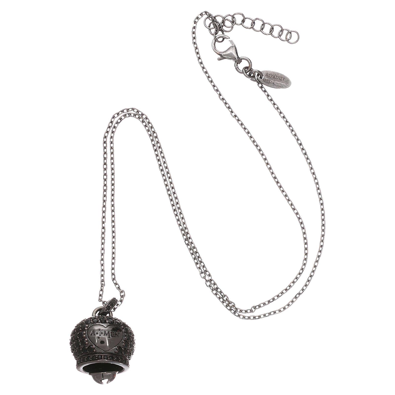 Collana in argento 925 nero AMEN con campanella zirconi neri 4
