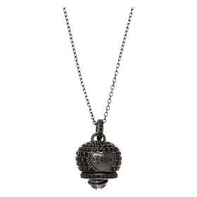 Collana in argento 925 nero AMEN con campanella zirconi neri s1