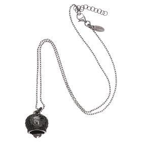 Collana in argento 925 nero AMEN con campanella zirconi neri s3