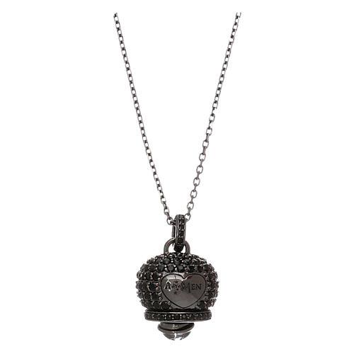 Collana in argento 925 nero AMEN con campanella zirconi neri 1