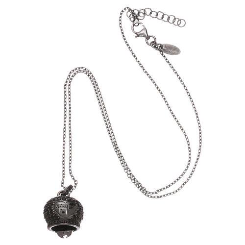 Collana in argento 925 nero AMEN con campanella zirconi neri 3