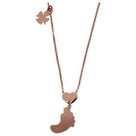 Collar AMEN plata 925 rosada colgante nácar forma pie rosa s2