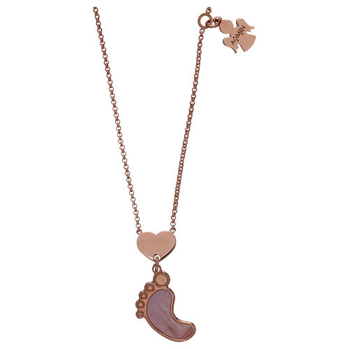 Collar AMEN plata 925 rosada colgante nácar forma pie rosa 1