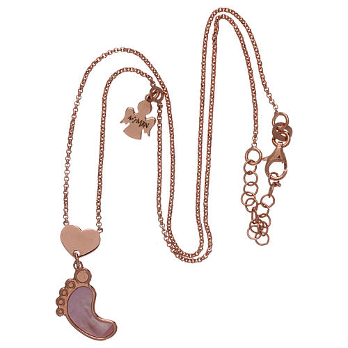 Collar AMEN plata 925 rosada colgante nácar forma pie rosa 3