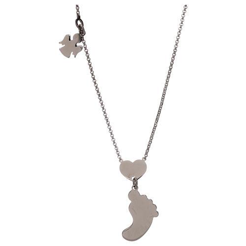 Collar plata 925 colgante pie nácar azul AMEN 2