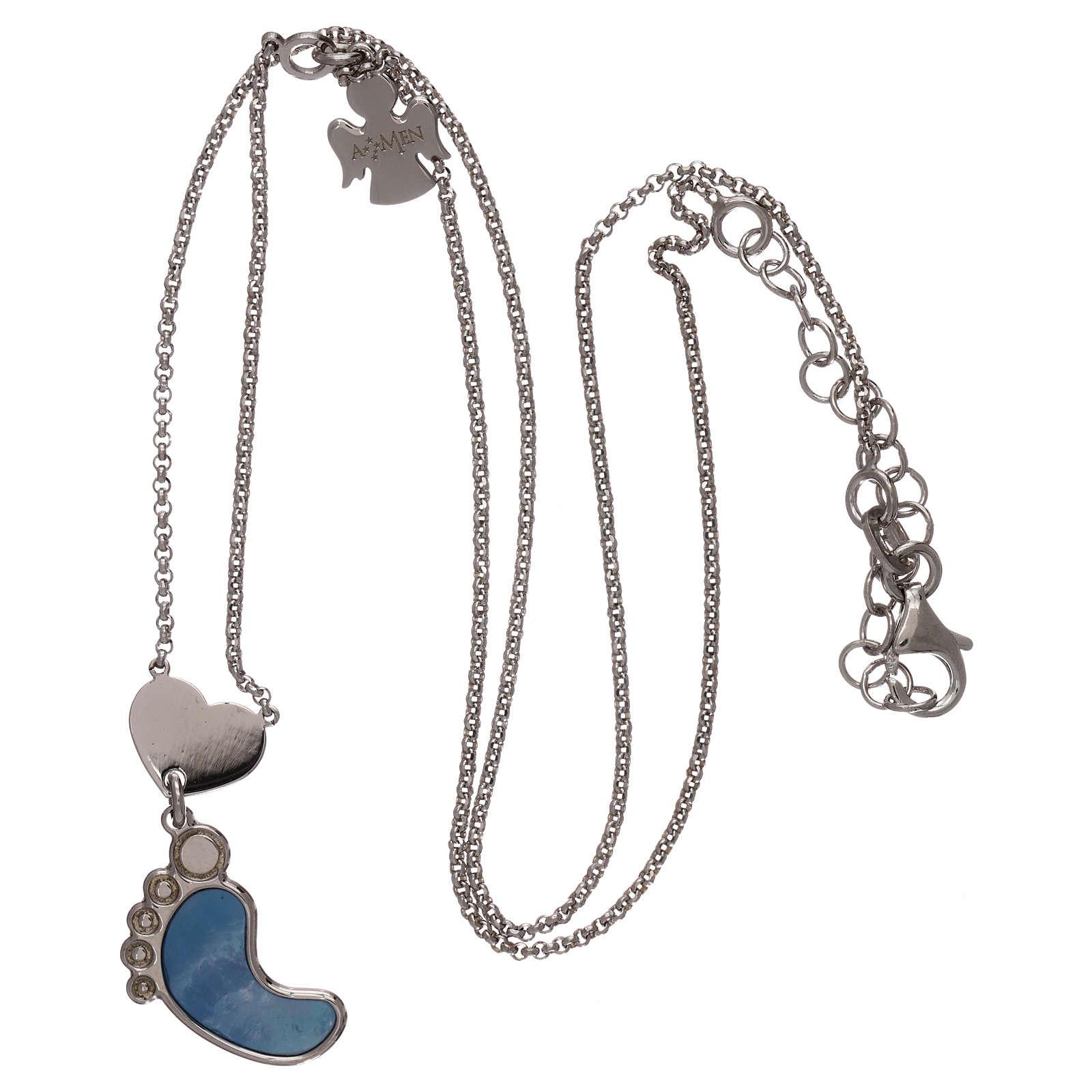 Collier AMEN argent 925 pendentif nacre forme pied bleu 4