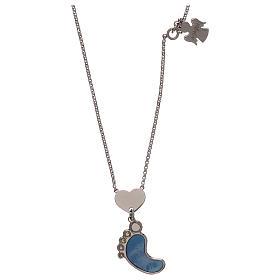 Collier AMEN argent 925 pendentif nacre forme pied bleu s1