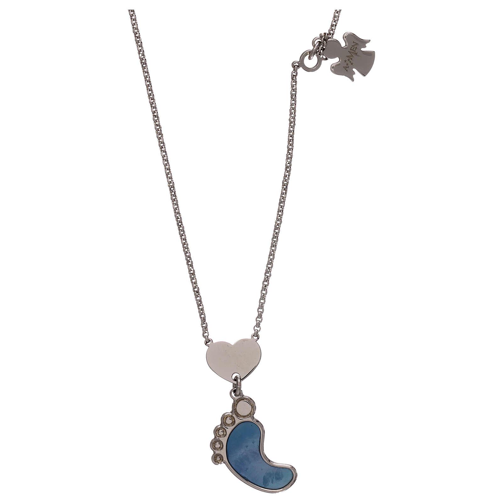 Colar prata 925 pingente pé madrepérola azul AMEN 4