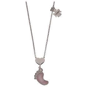 Pingentes, Cruzes, Broches, Correntes: Colar prata 925 pingente madrepéola cor-de-rosa pé AMEN