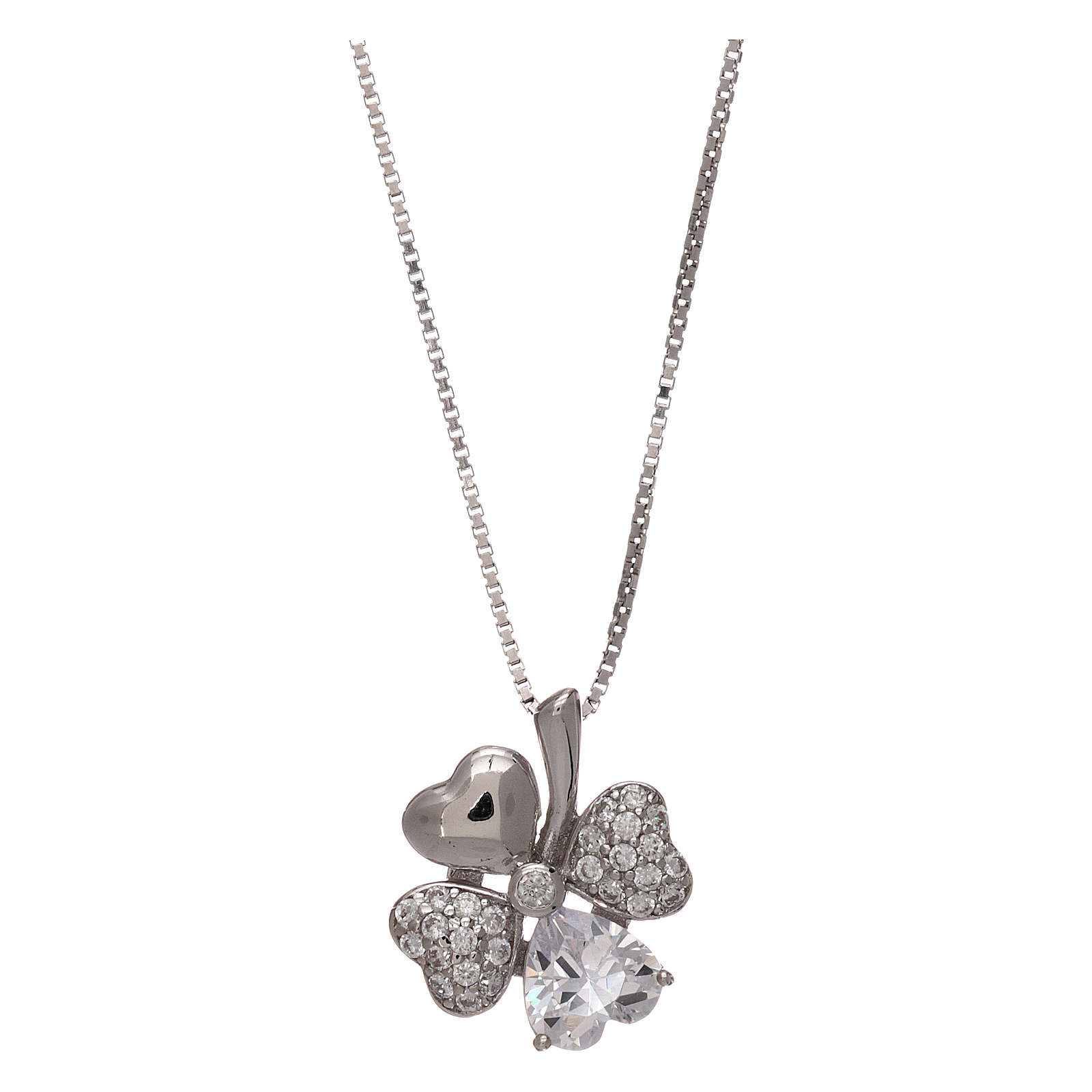 Collar de plata 925 colgante trébol con zircones AMEN 4