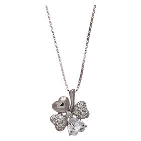 Collar de plata 925 colgante trébol con zircones AMEN s1