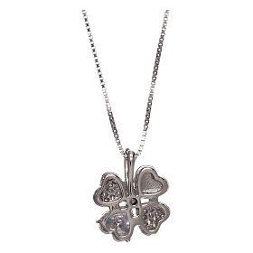 Collar de plata 925 colgante trébol con zircones AMEN s2