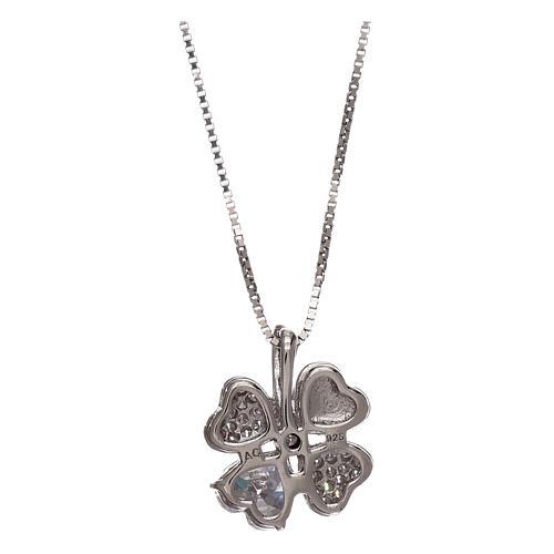 Collar de plata 925 colgante trébol con zircones AMEN 2