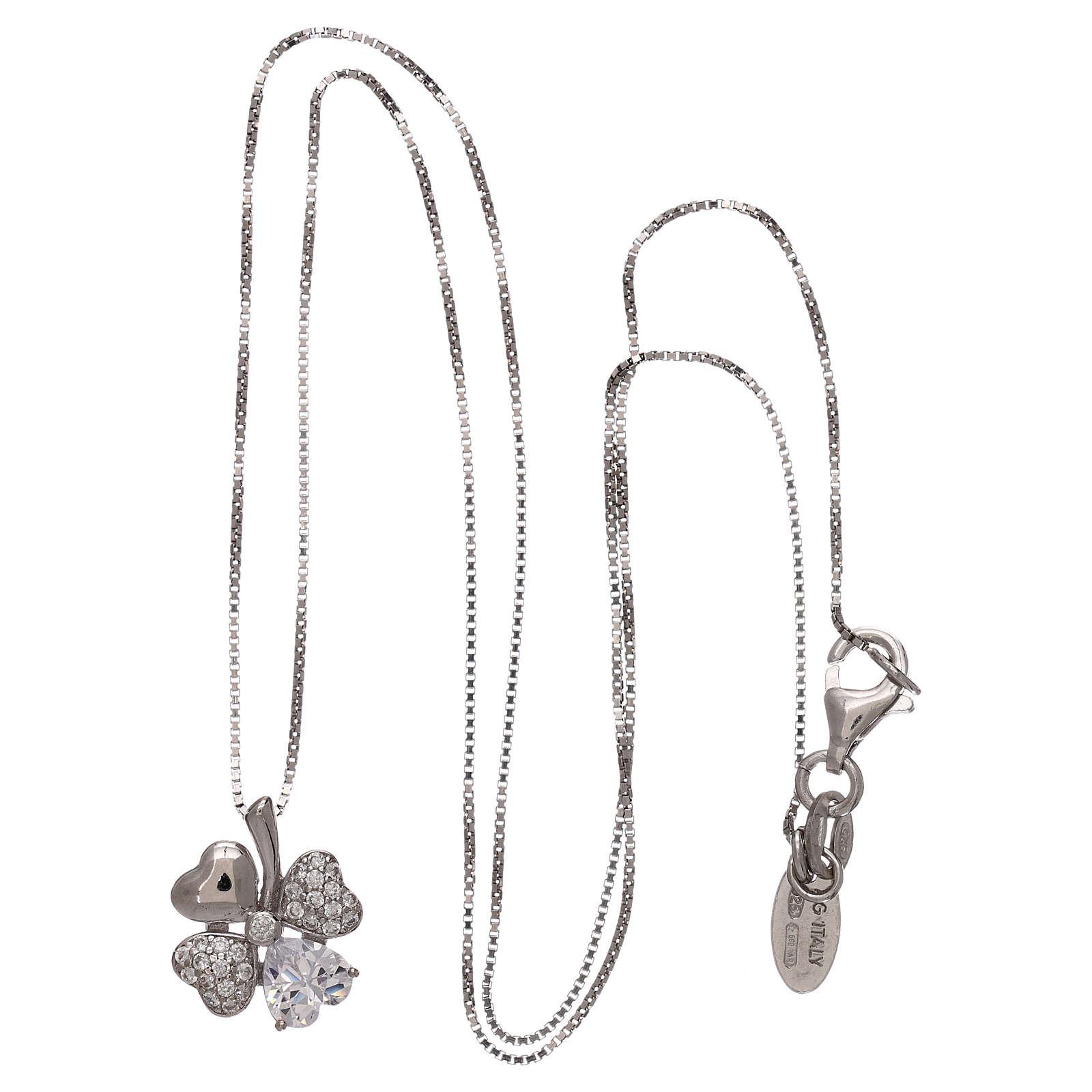 Colar prata 925 pingente trevo com zircões AMEN 4
