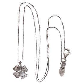 Colar prata 925 pingente trevo com zircões AMEN s3