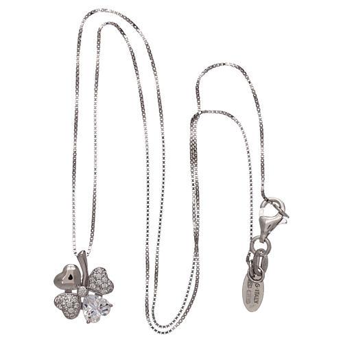 Colar prata 925 pingente trevo com zircões AMEN 3