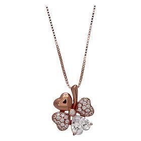 Pingentes, Cruzes, Broches, Correntes: Colar AMEN em prata 925 rosé pingente trevo zircões